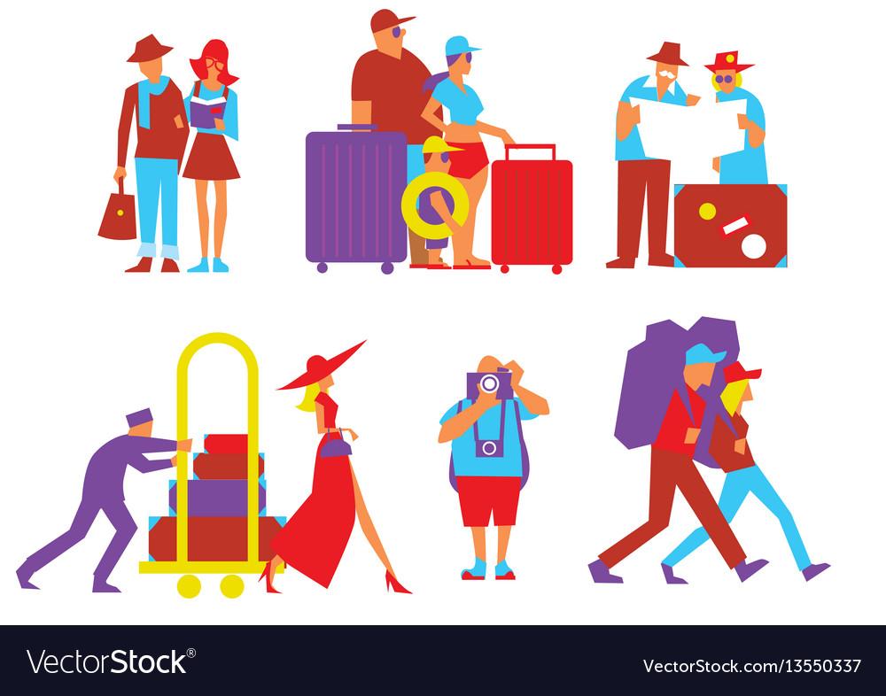 Traveling people set in flat design