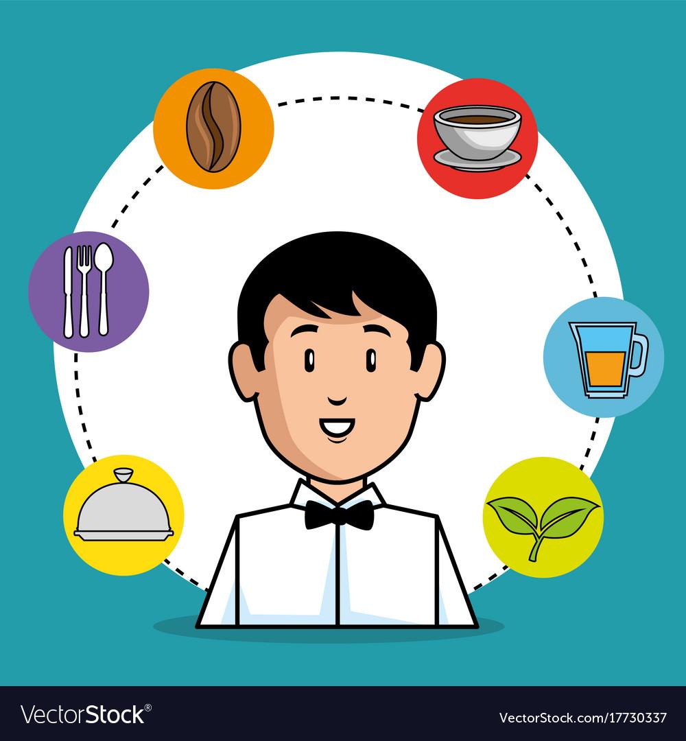 Young waiter cartoon