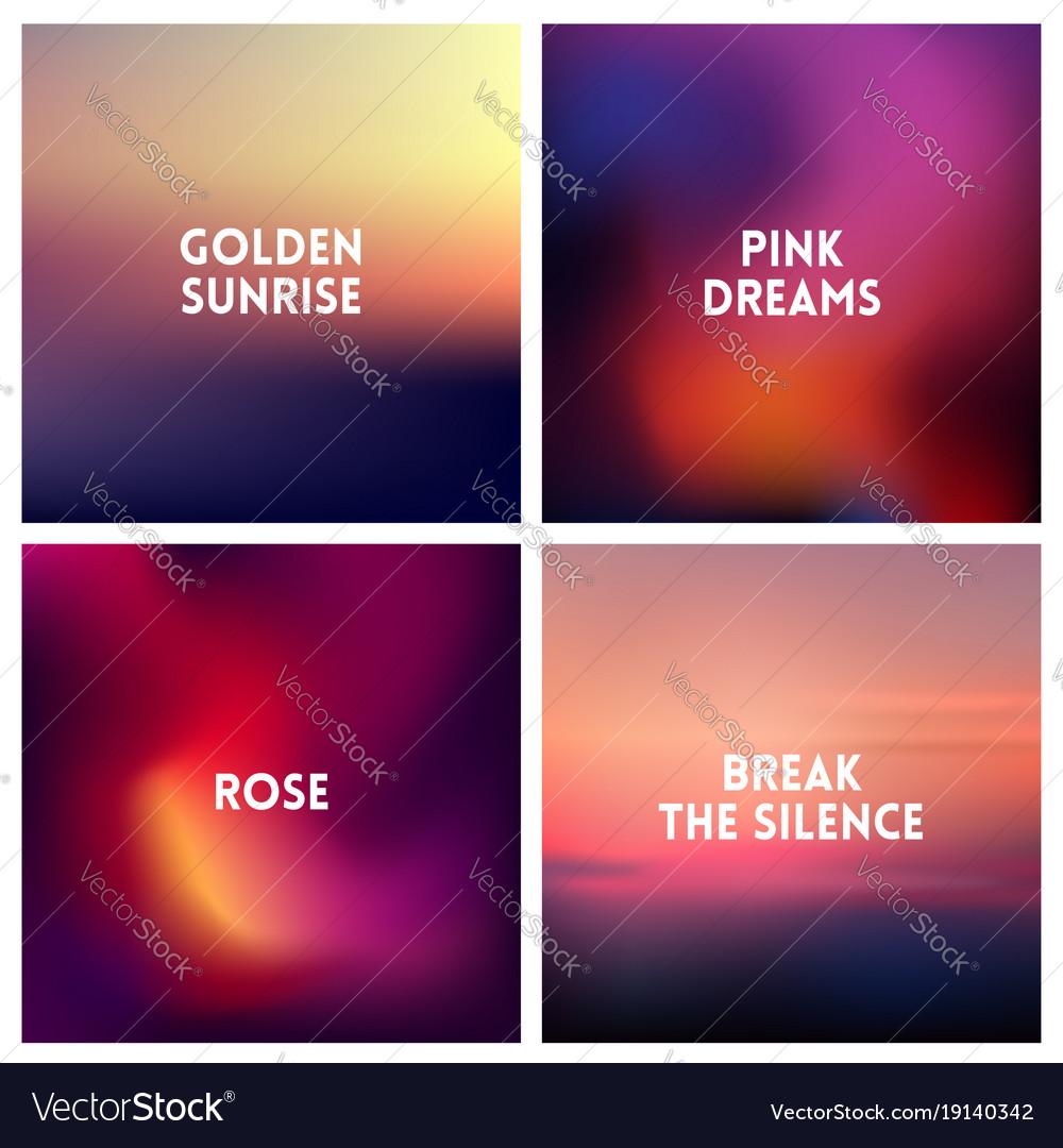 Abstract dark pink blurred background set