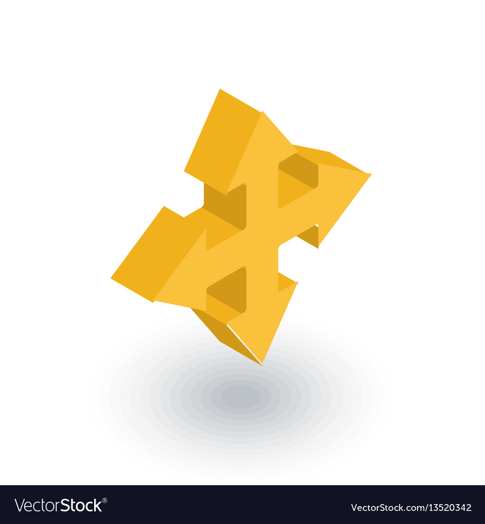 Arrow cross four way isometric flat icon 3d vector image