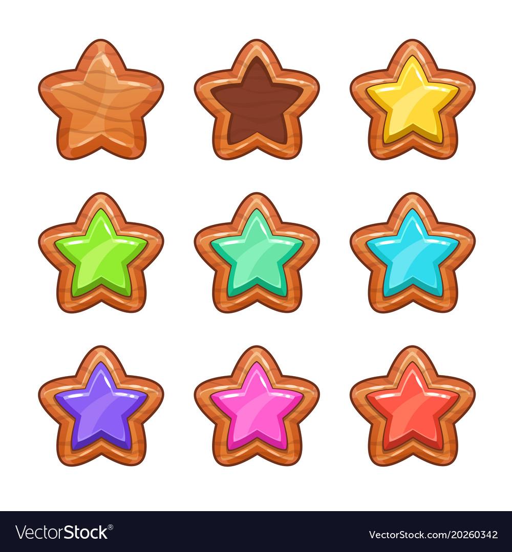 Cartoon wooden stars set
