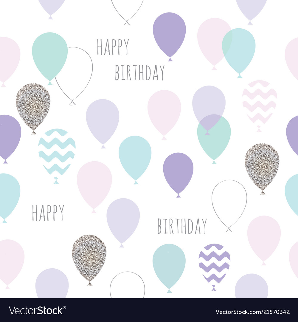 Cute seamless pattern with balloons for birthday
