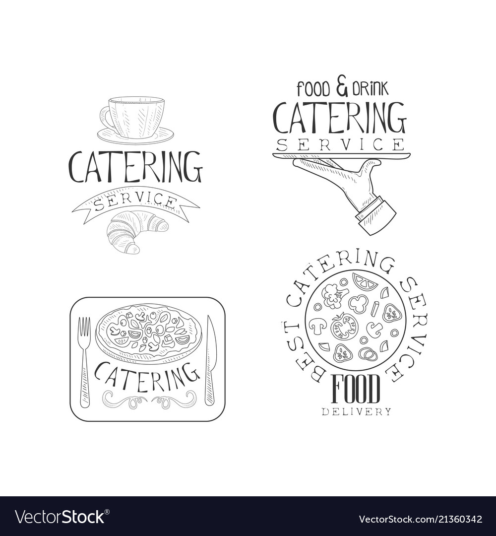 Hand drawn design of 4 catering service