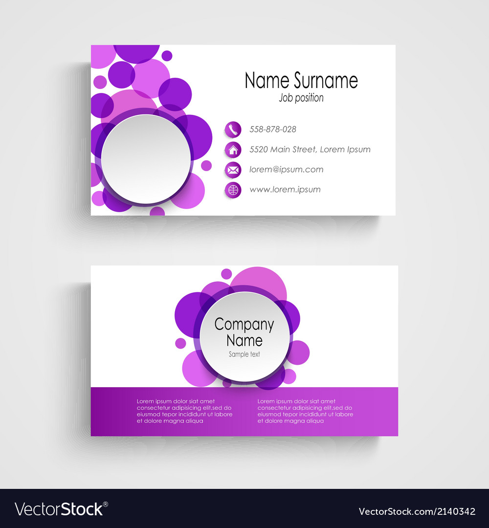 Modern violet round business card template vector image wajeb