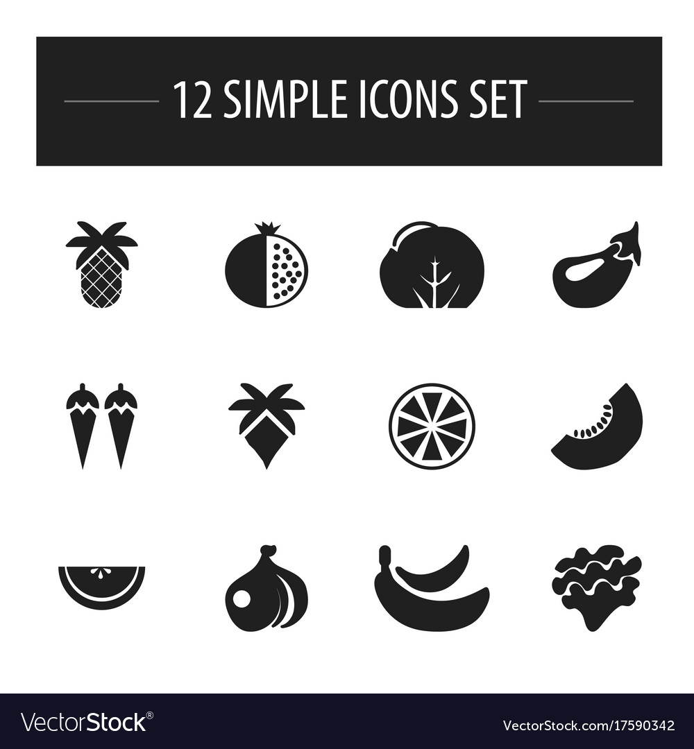 Set of 12 editable fruits icons includes symbols