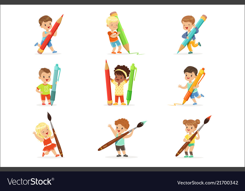 Smiling young boys and girls holding big pencils