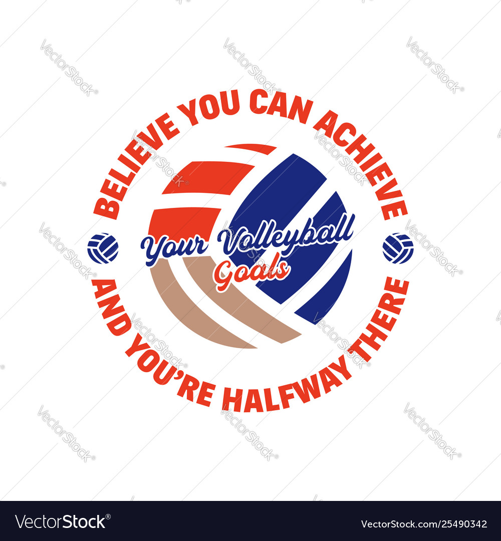 Volleyball logo template badge with ball and