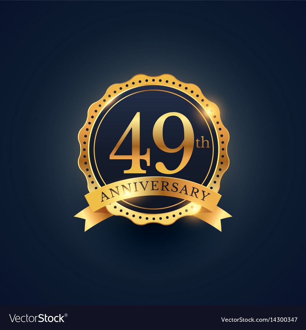 49th anniversary celebration badge label in vector image