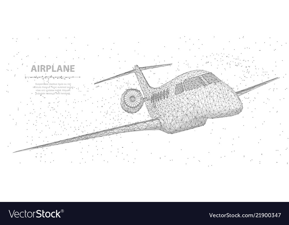 Airplane abstract 3d polygonal wireframe airplane