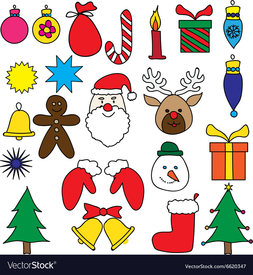 Christmas Day Drawing Images.Christmas Drawing Ornament Color Set