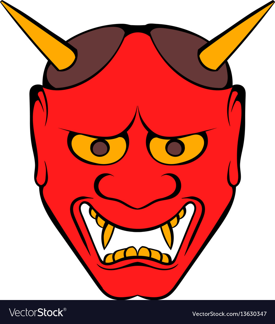 Hannya mask icon cartoon