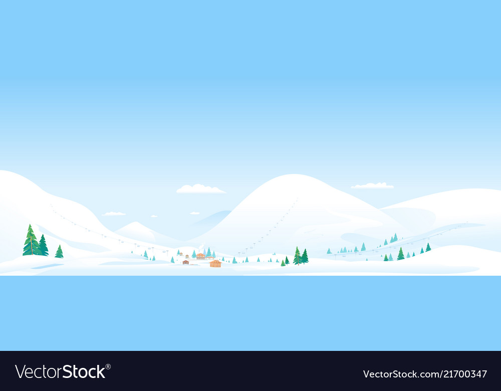 Mountain ski resort landscape background