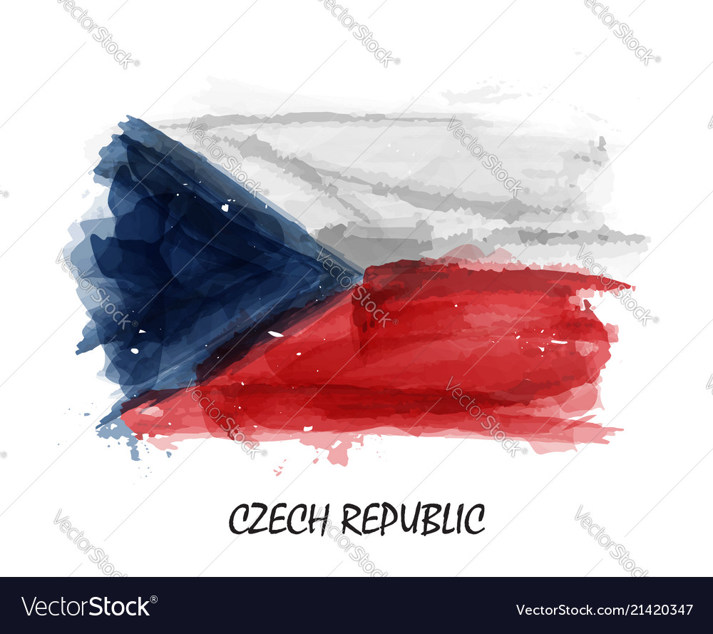 Realistic watercolor painting flag of czech