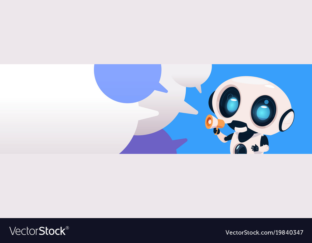 Robot chatterbot holding megaphone over chat