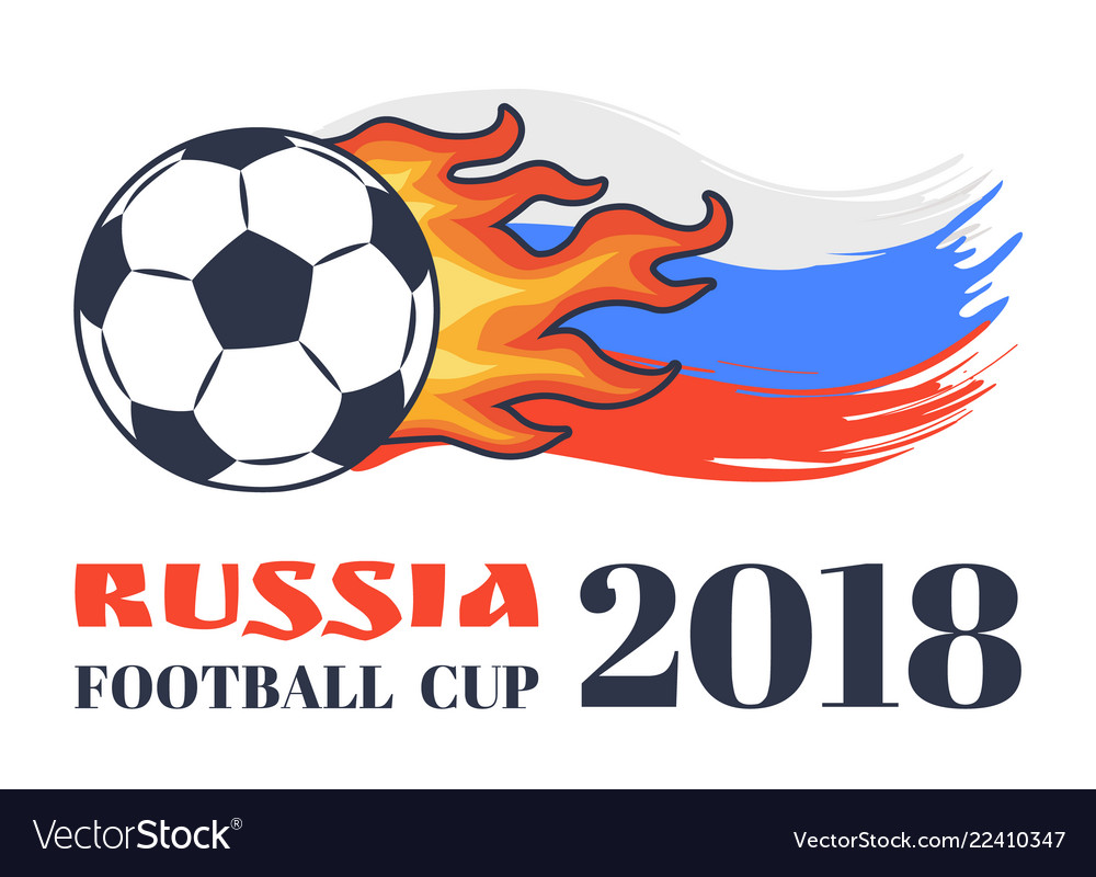 Russia football cup 2018 isolated on white card