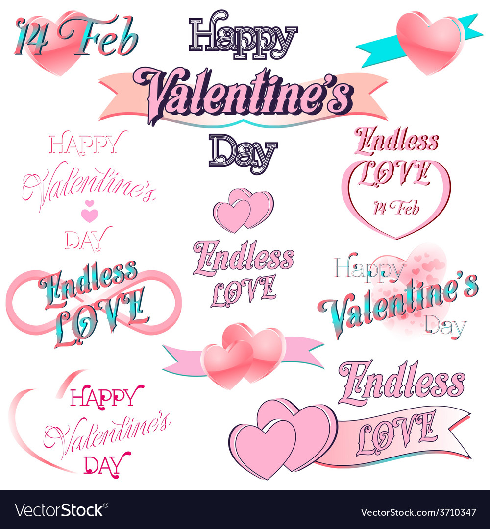 Set of Valentines Day Decorative Elements