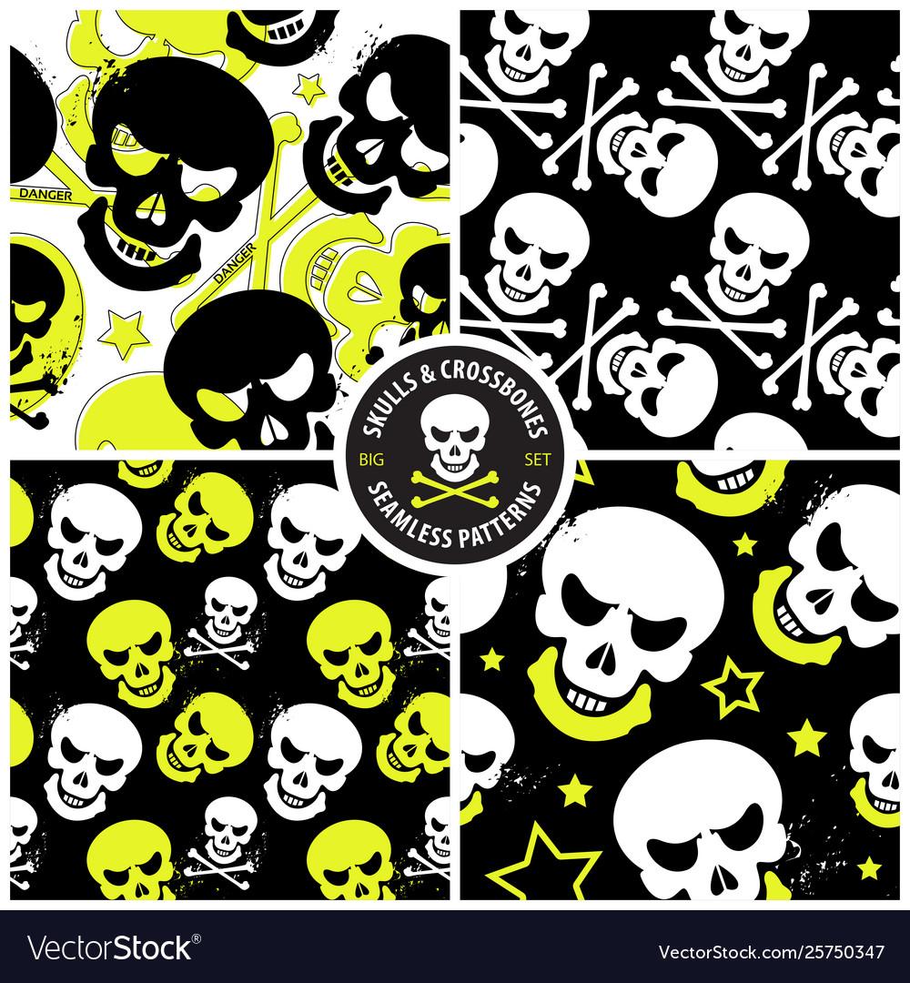 Set seamless patterns with skulls