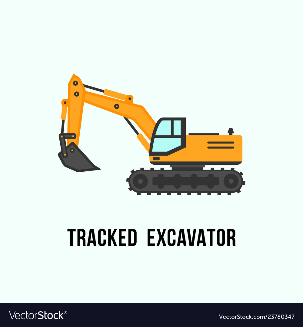 Tracked yellow excavator icon construction