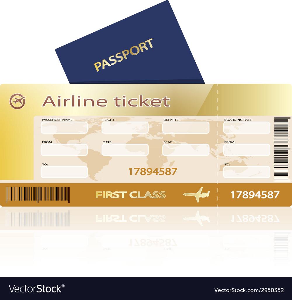 Air ticket golden vector image