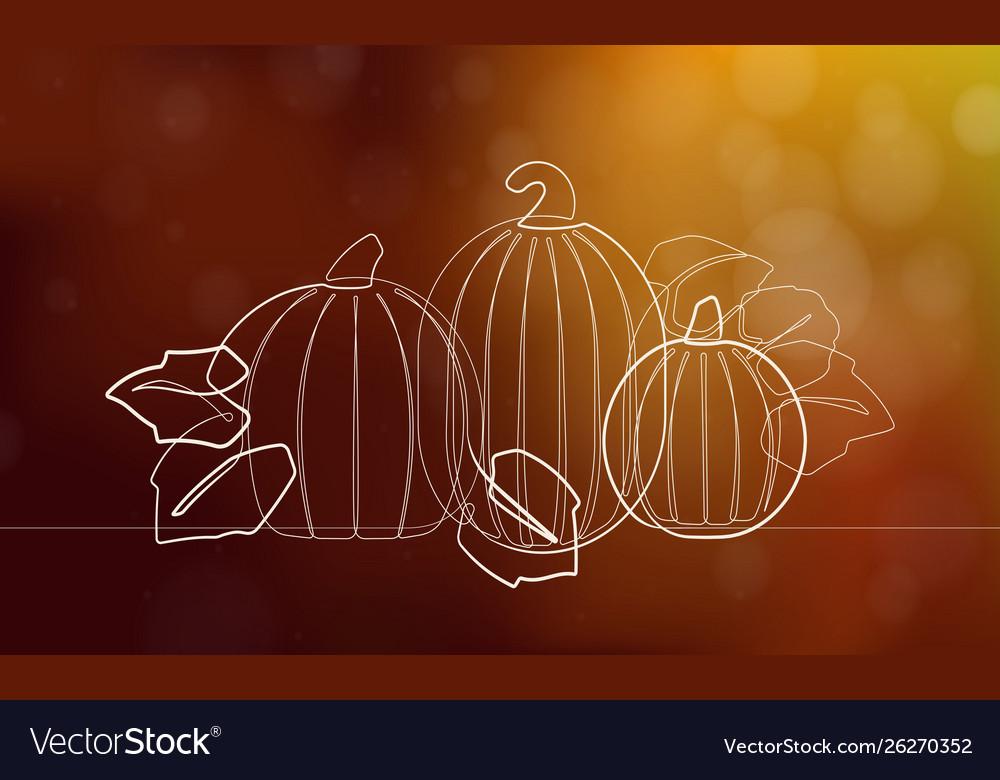 Autumn pumpkin patch single continuous line art