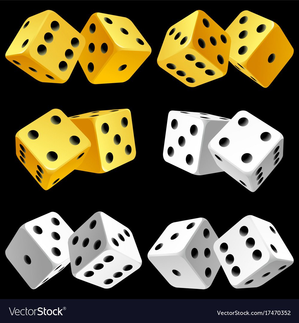 Casino dice set of authentic icons yellow and