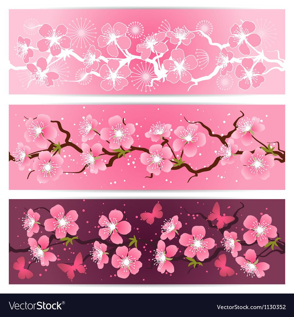 Cherry blossom flowers banner set royalty free vector image cherry blossom flowers banner set vector image mightylinksfo