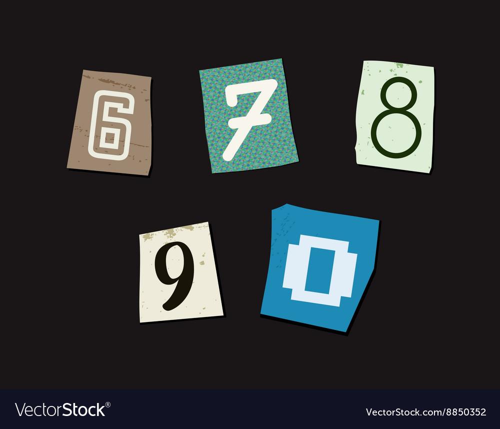 Colorful Newspaper Cut Numbers Set