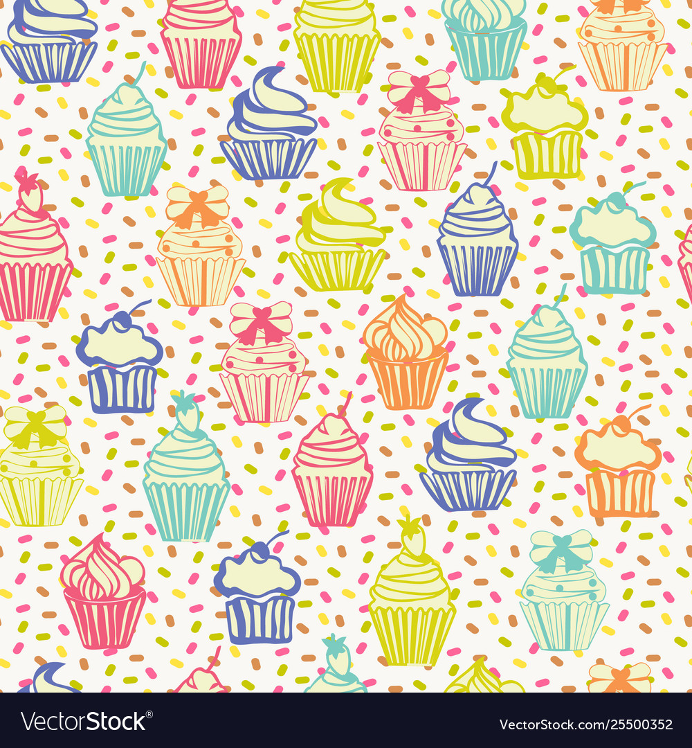Cute colorful seamless pattern with cupcakes