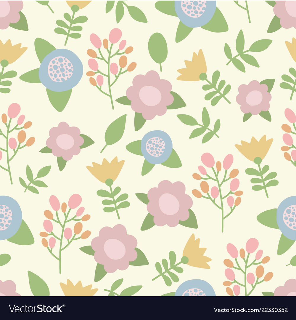 Cute hand drawn summer pastel colors flowers