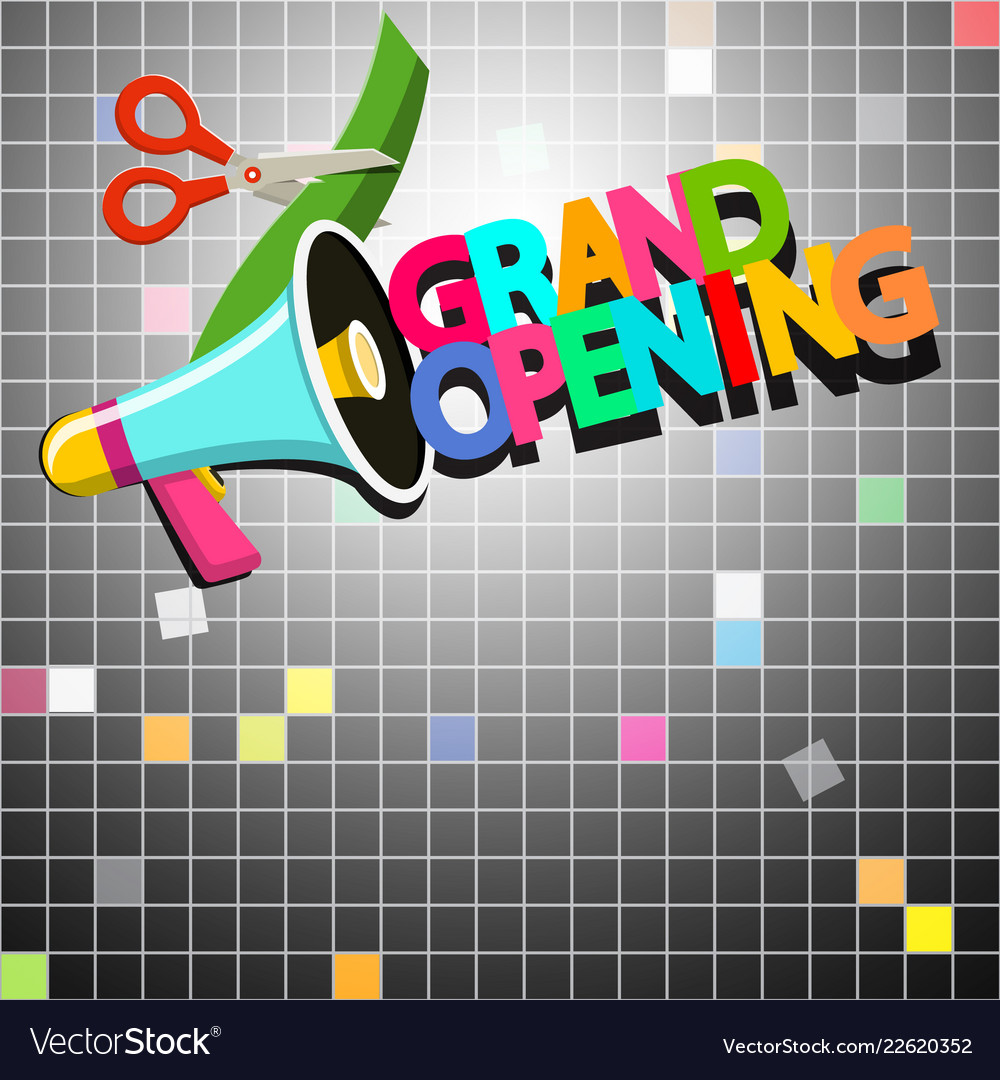 Grand opening design with megaphone