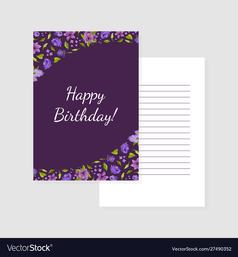 Happy birthday purple card template with flowers