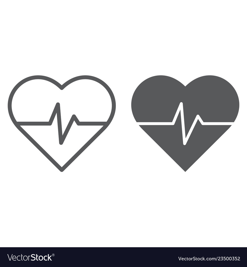 Heart rate line and glyph icon medical and pulse