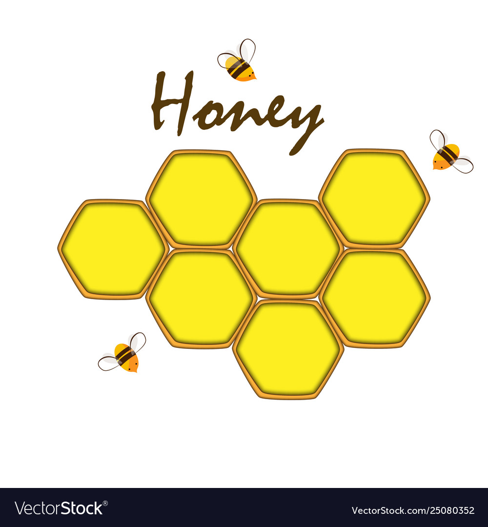 Honey comb label template design emblem