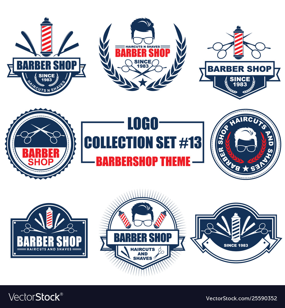 Logo collection set with barbershop theme
