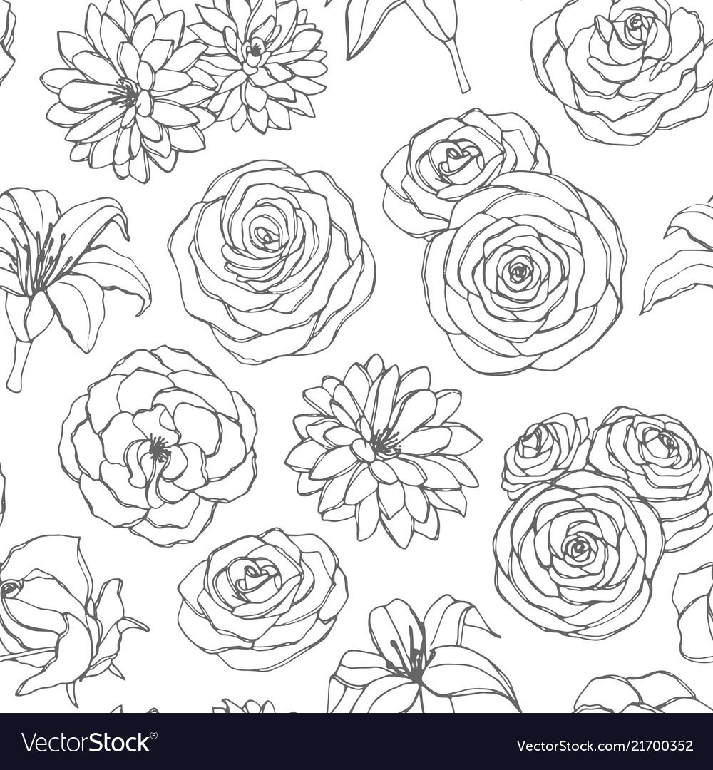 Seamless pattern with lily chrysanthemum rose