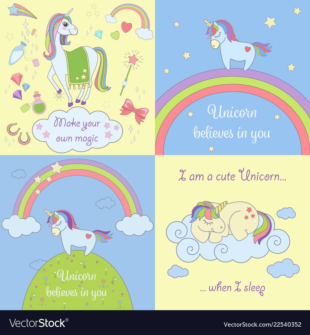Set beautiful unicorns