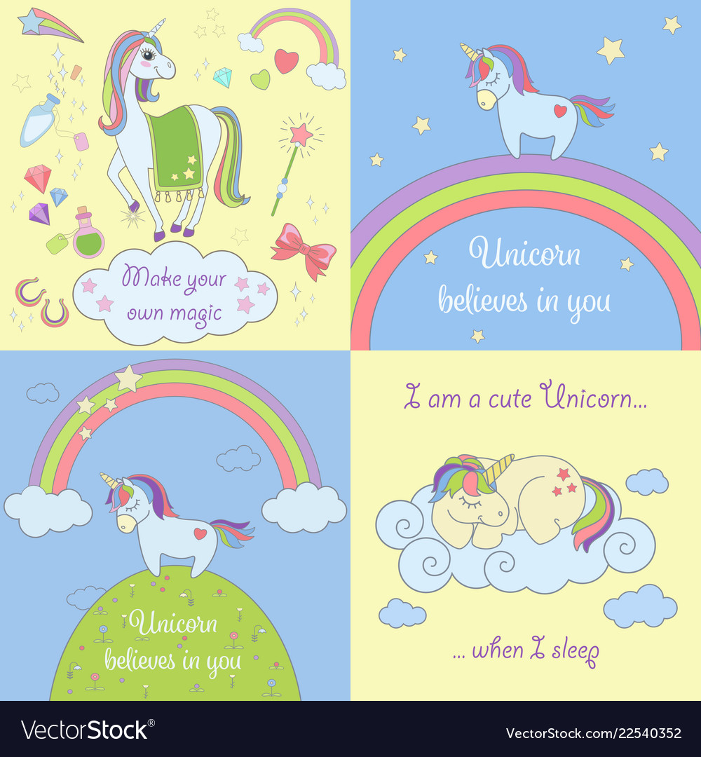 Set of beautiful unicorns