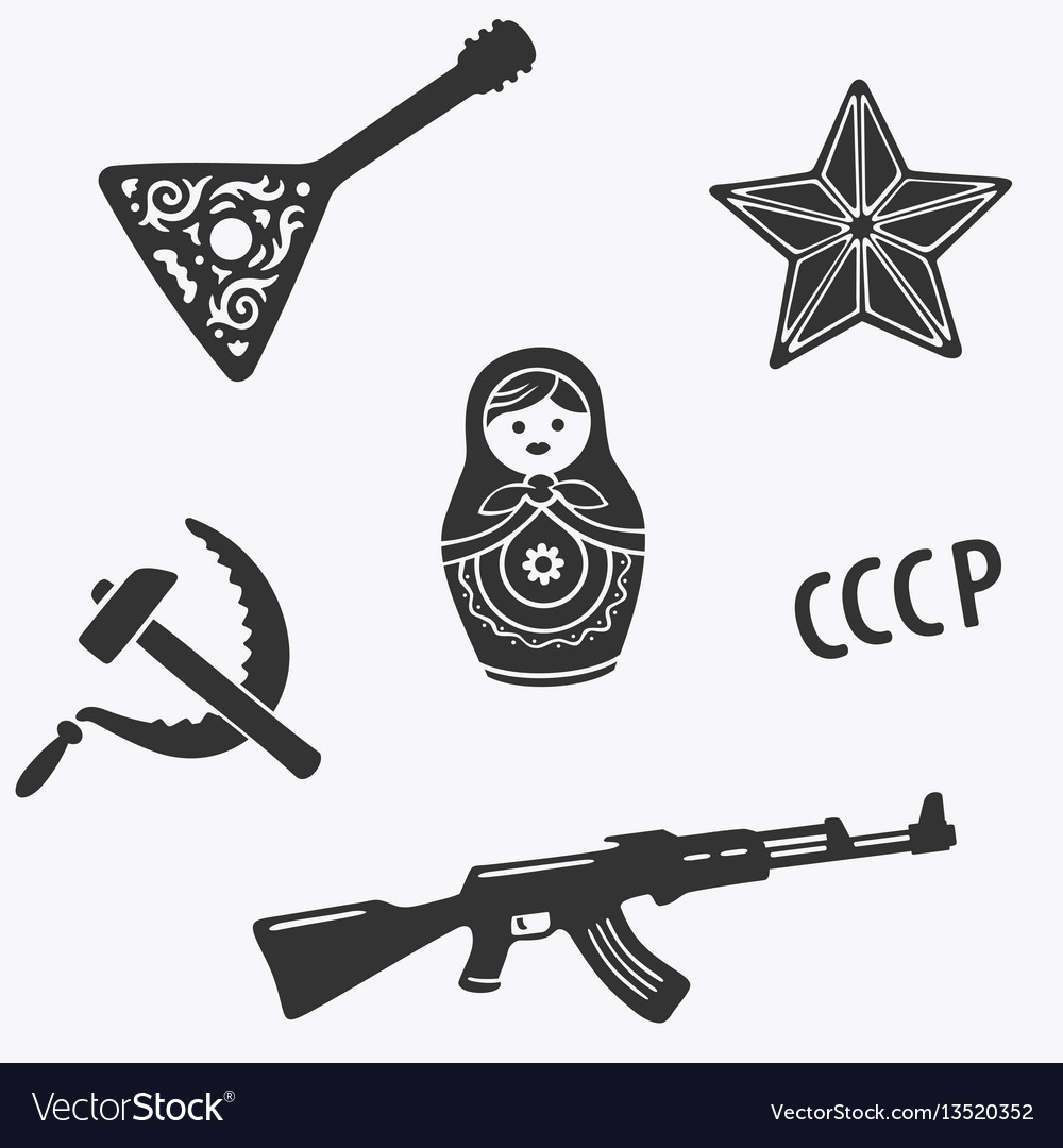 Symbols set russia stereotypes