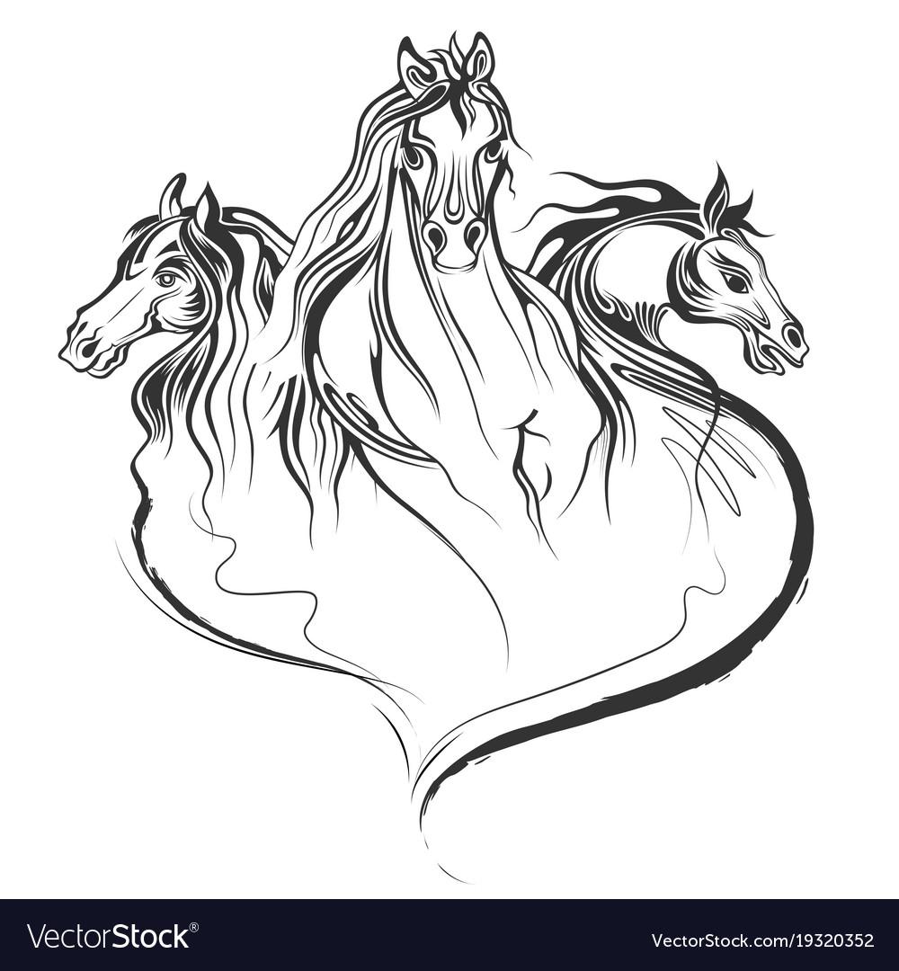 Tattoo art design horse racing in line art