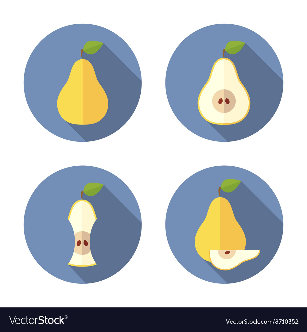 Whole and cut pears Flat Icon