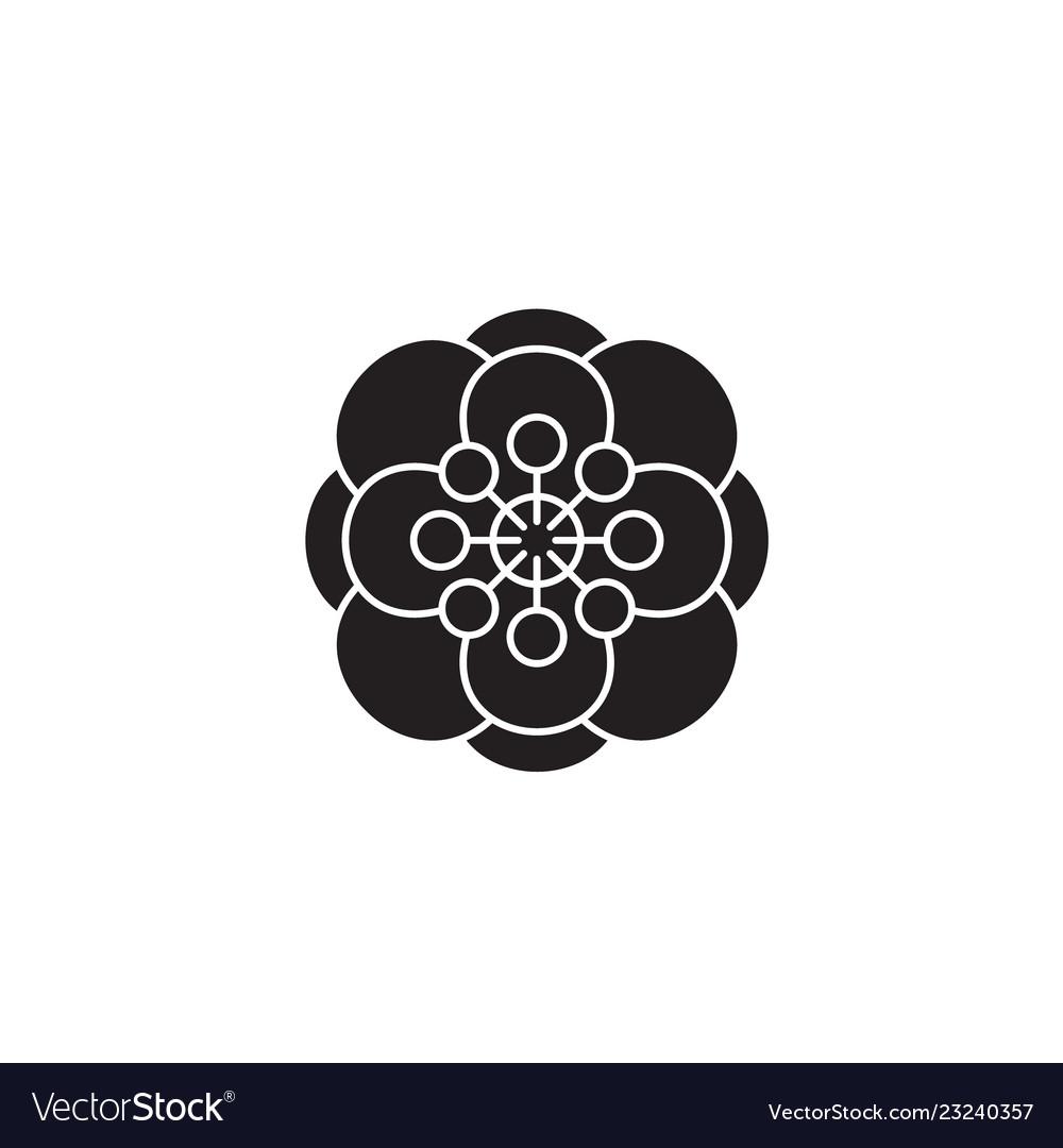 Anemone black concept icon anemone flat