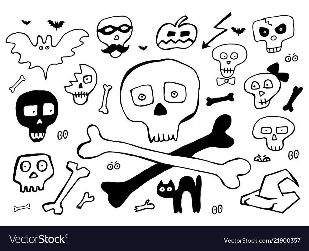 Bones and skulls hand drawn elements for halloween
