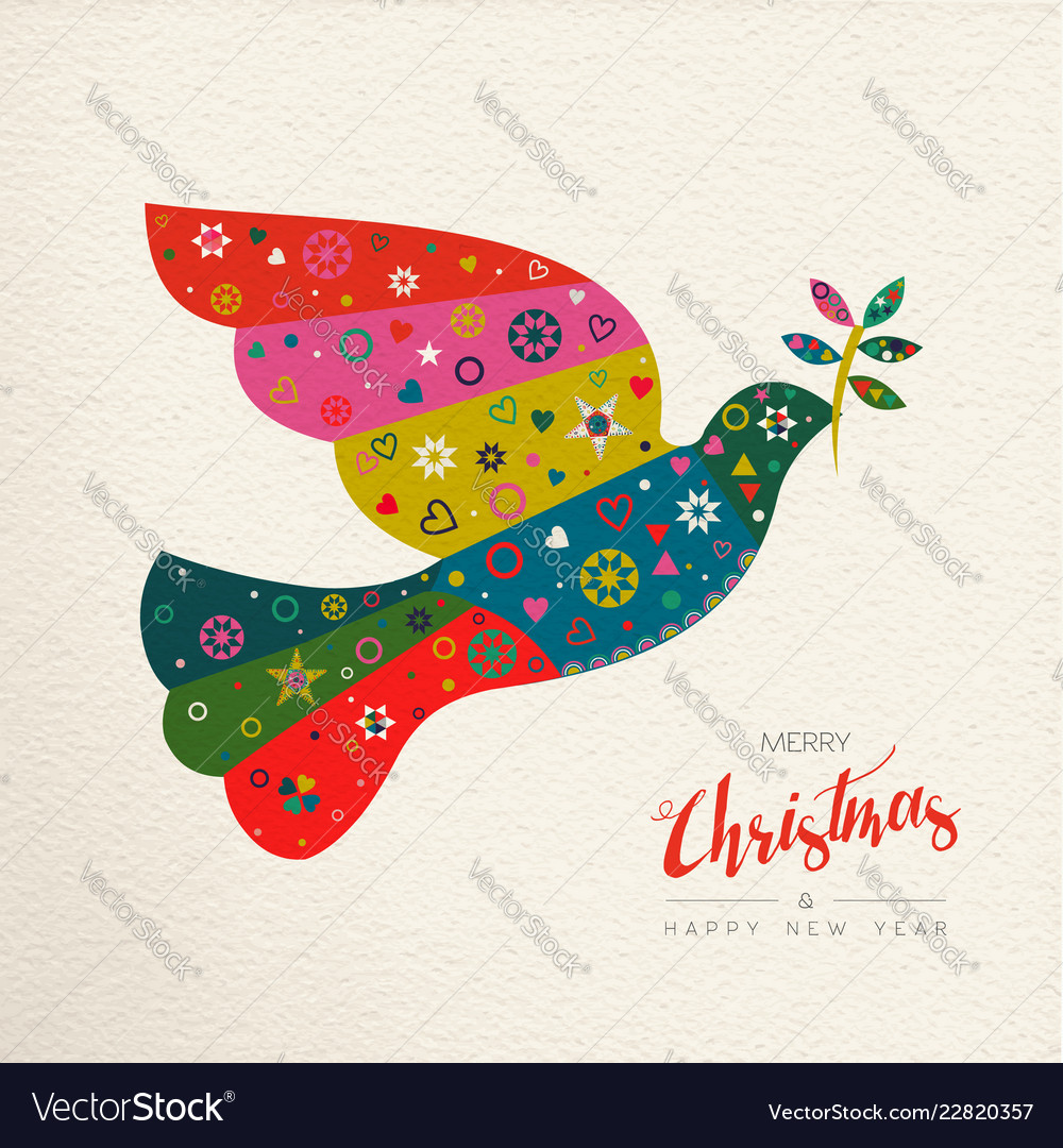 Christmas and new year colorful bird greeting card