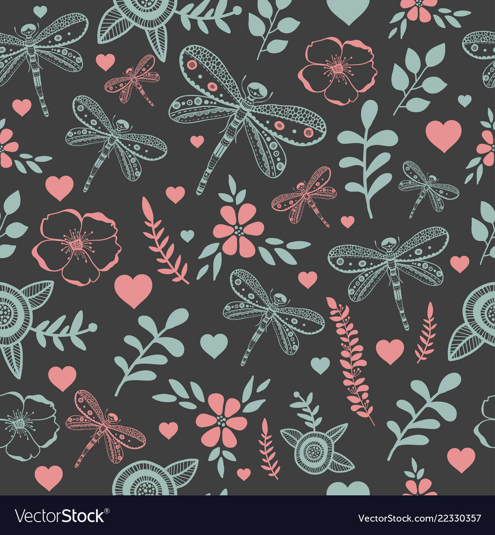 Dragonfly and flowers nature seamless