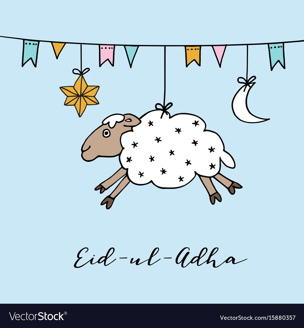 Eid-ul-adha greeting card with hand drawn sheep