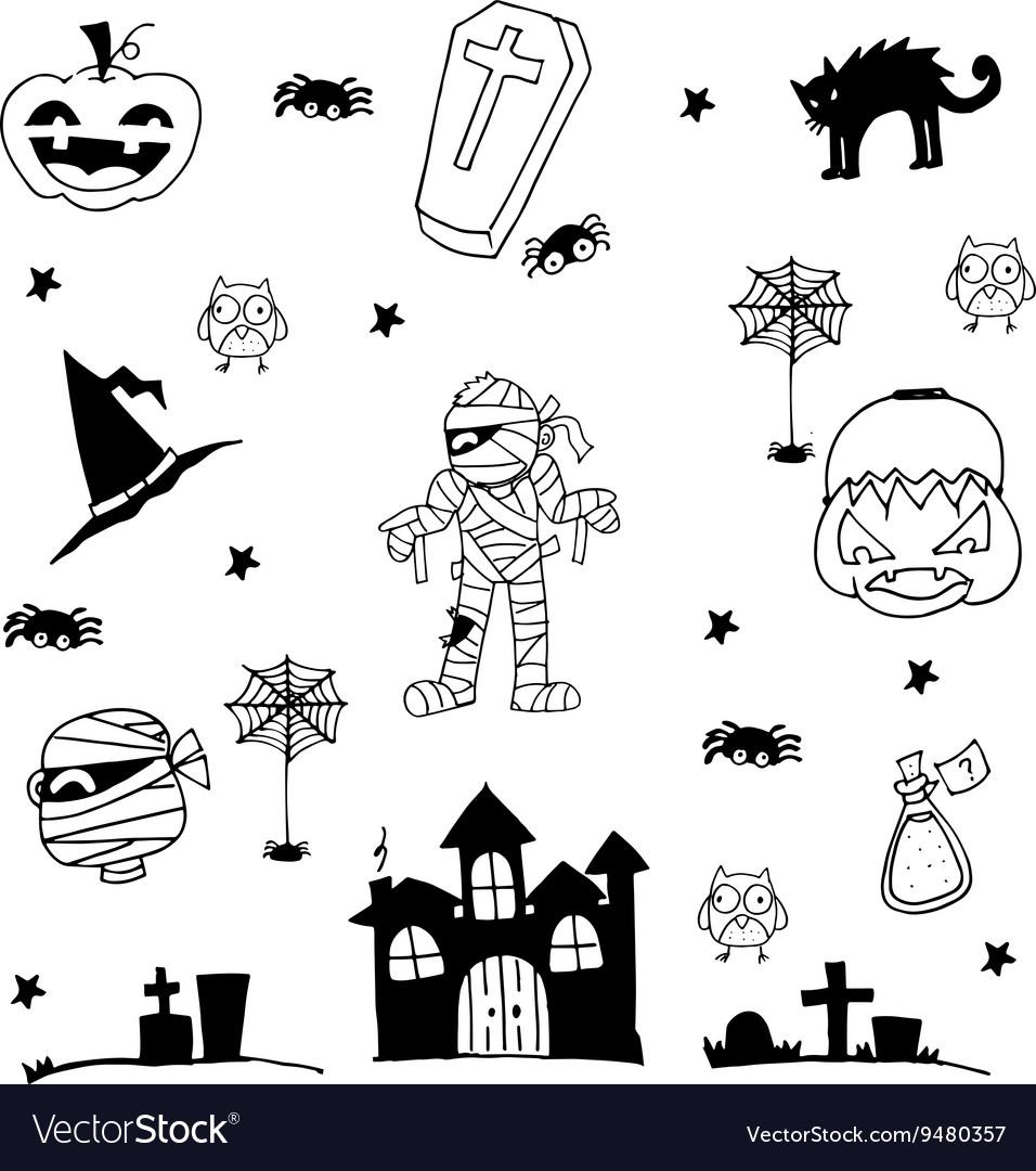 Halloween zombie castle tomb cat in doodle
