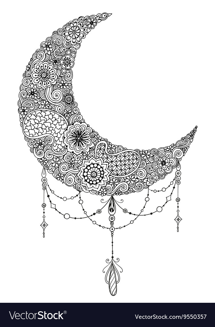 Hand drawn moon with flowers mandalas and paisley