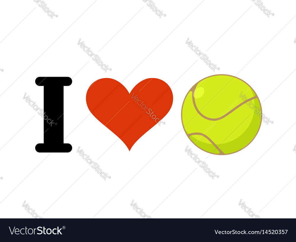 I love tennis heart and ball emblem for sports