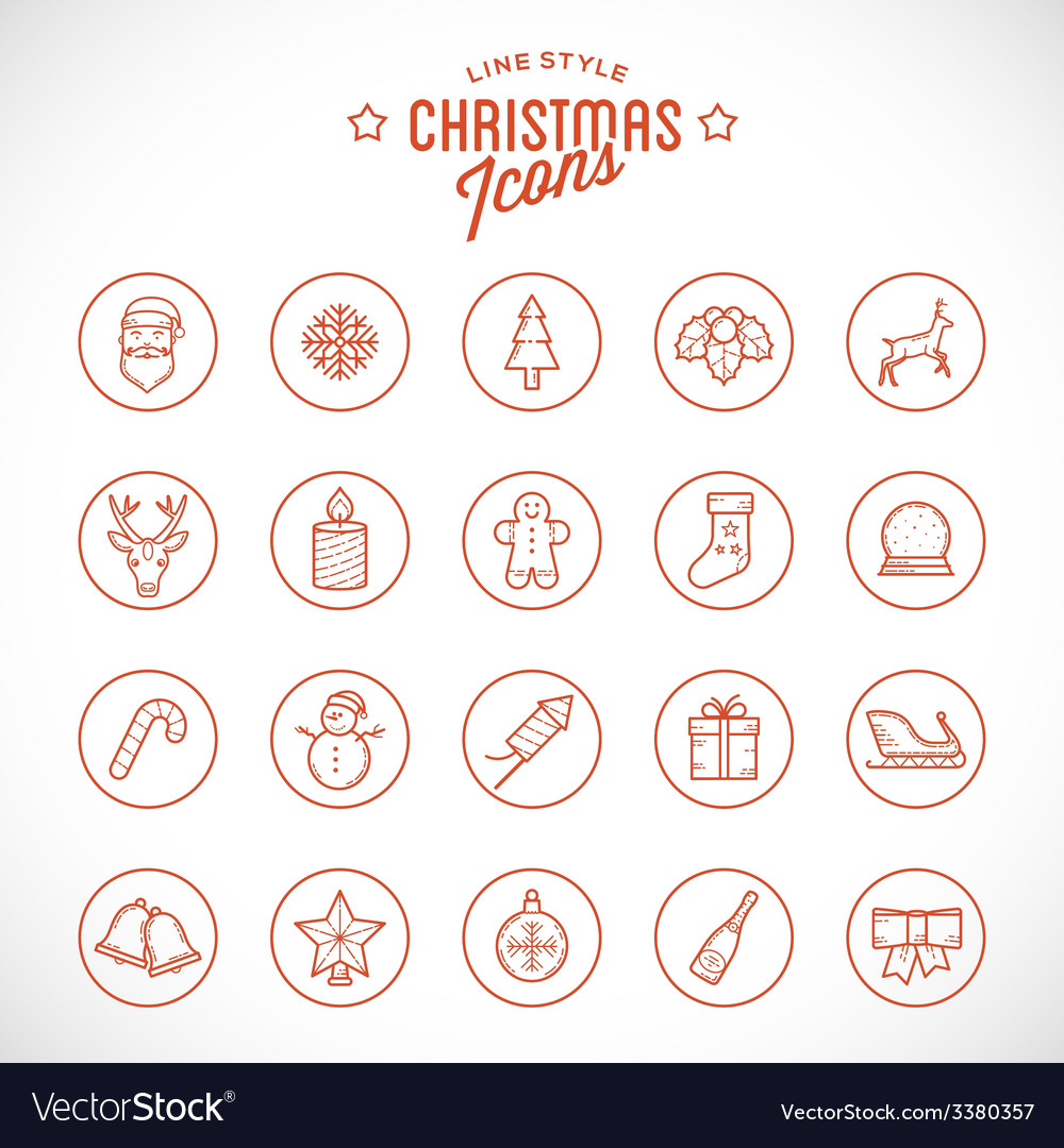 Line Style Christmas and New Year Icon Set With