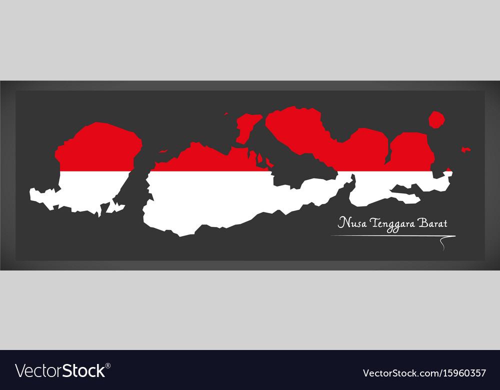 Nusa tenggara barat indonesia map with indonesian
